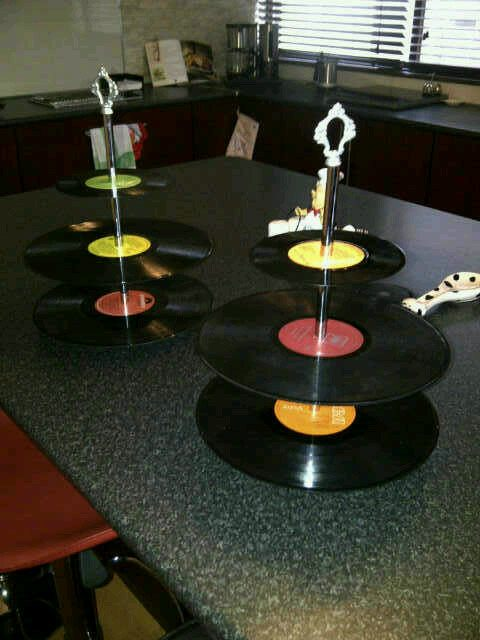 cupcake stand made out of old records