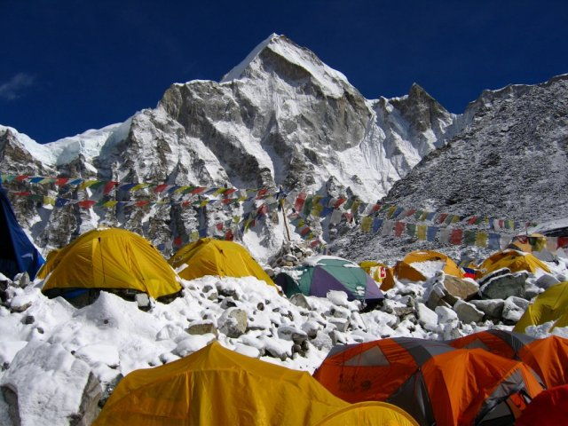 Everest base camp. He said it felt like he was at Woodstock or some other music festival.