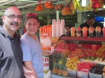 """My dad and brother getting freshly made juice. It's like the """"juicing"""" craze has been in this country forever."""