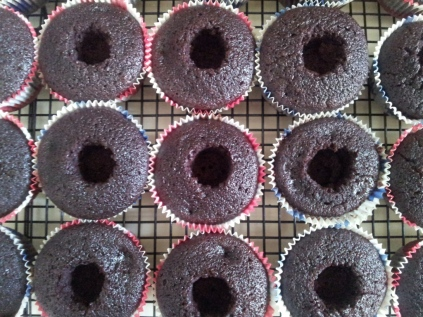Cored cupcakes...