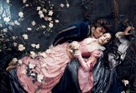 Vanessa Hudgens and Zac Efron as Sleeping Beauty and the Prince.