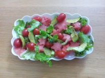 Watermelon and green salad, with a strawberry dressing. Thank you Yuppiechef!